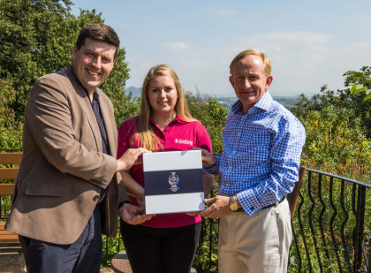 Jamie Hepburn, the Minister for Sport, Health Improvement and Mental Health, and Mike Cantlay, Chairman of VisitScotland, hand over Scotland's bidding documents for The 2019 Solheim Cup to 16-year-old ClubGolf graduate Katriona Taylor who then travelled to The Buckinghamshire Golf Club to submit the bid on behalf of Scotland to the Ladies European Tour on Friday