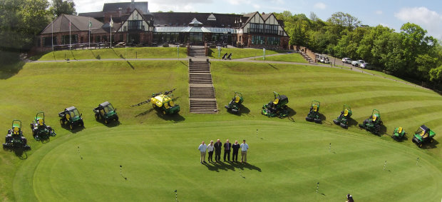 The new John Deere machinery fleet lined up at Woodbury Park Golf Club, with (left to right) Masons Kings group turf sales manager Andrew Bowey, joint owners of Woodbury Sue & Robin Hawkins, John Deere territory manager Philip Tong, Woodbury's golf course & estate manager Ian Chenery and Masons Kings turf sales consultant Lee Kirk
