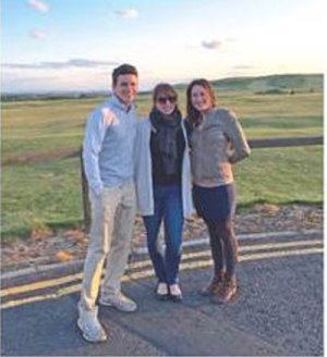 (from left) Taylor White, Internship Director Cynthia Johnson, and Julie Barosso pictured in Gullane. Taylor and Julie are interns at the nearby Renaissance Club