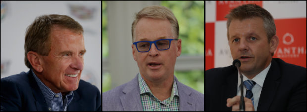 (from left) PGA TOUR Commissioner, Tim Finchem; European Tour Chief Executive, Keith Pelley; and Asian Tour CEO, Mike Kerr