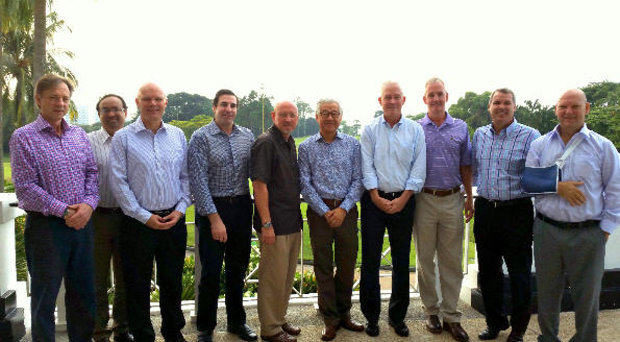 (from left) Cameron Russell of Toro, Dr Sowmya Mitra of Syngenta, Paul Burley of IMG, Chris Gray of Rain Bird, Chuck Greif of Jacobsen, Dr Aylwin Tai, Eric Lynge, Mark Adams of IMG, Andy Johnston of Sentosa Golf Club, Danny Potter of Centaur Asia Pacific