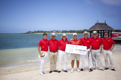 (from left) Ludovic Bax, Mauritius Amateur Golfer & Invitational Tournament player; Christophe Curé, President of the Mauritius Golf Federation; Arnaud Martin, Chairman, Mauritius Tourism Promotion Authority; Hennie Otto, AfrAsia Bank Global Brand Ambassador, Anahita Ambassador & Sunshine Tour professional; James Benoit, CEO of AfrAsia Bank (main sponsor); Grant Wilson (COO of the Sunshine Tour, representing the Sunshine, European and Asian tours); and Jean-Pierre Dalais - Executive Director, CIEL (Anahita Mauritius).