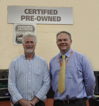 Mick Shaw (left), Ransomes Jacobsen's newly appointed CPO Sales Manager with Customer Care Director Jason King