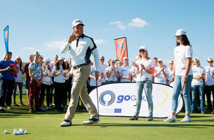 Alvaro Velasco gives a putting lesson to youngsters at the launch of GoGolf Europe at the KLM Open on Wednesday (Getty Images)