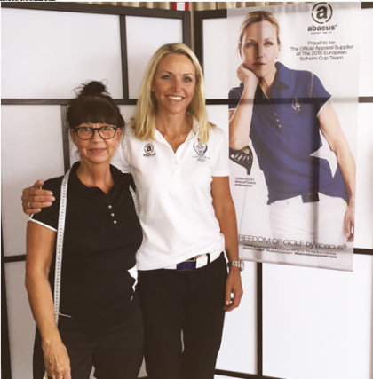 European Solheim Cup Team Captain Caring Koch with Abacus Sporstwear's Lisa Martell Nielsen at the team fitting session