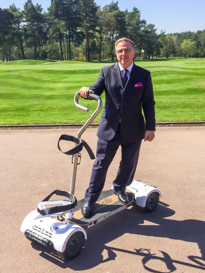 Crown Golf CEO Stephen Towers takes his GolfBoard for a spin