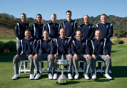 Captain Jon Bevan poses with his Great Britain & Ireland team prior to the start of the 27th PGA Cup at CordeValle on September 16, 2015 in San Martin, California. (Photo by Scott Halleran/Getty Images)