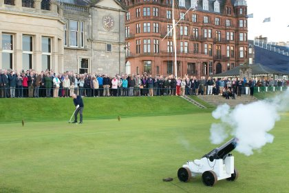 Gavin Caldwell, the new Captain of The Royal and Ancient Golf Club of St Andrews, drives in to office