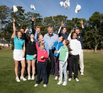 "Colin Montgomerie meets Gleneagles ""DreamTeam"" of Junior Golfers who have been selected to take part in the The Gleneagles Foundation inaugural 12 month scholarship programme (Picture Stuart Adams)"