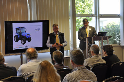 Product Manager Richard Tyrrell and Sales Manager John Quinton address the dealer group on the latest Iseki mowing equipment