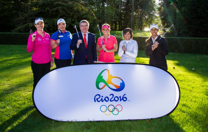 Potential Olympic golfers from the Ladies European Tour and LPGA visit the Olympic Museum and IOC Headquarters in Lausanne, Switzerland. meets IOC president Thomas Bach at the IOC headquarters in Lausanne (Tristan Jones)
