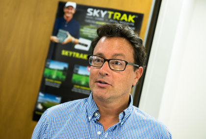 Andy Allen, Managing Director of SportTrak, speaks at the UK launch of the SkyTrak personal launch monitor / golf simulator