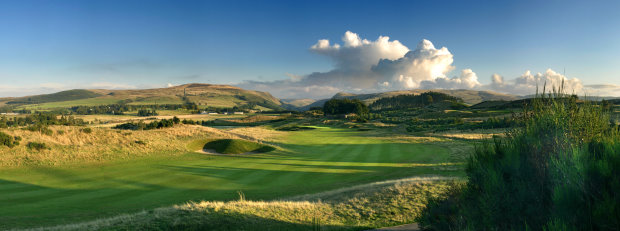 Taken from right ridge on 2nd hole of PGA Centenary Course, The Gleneagles Hotle, Scotland. Shows fairway towards green (centre distance). Glen Devon in background
