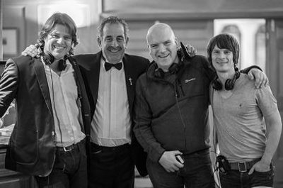 from left: author John Richardson, golfing legend Sam Torrance, producer Mark Pegg, and director Farren Blackburn during filming