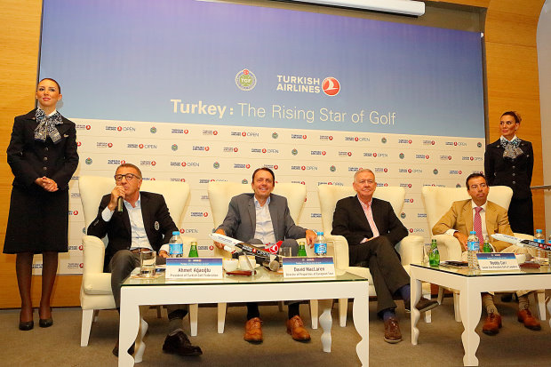 Ahmet Agaoglu (President of the Turkish Golf Federation); David Maclaren (Director of Properties and Destinations at European Tour); Roddy Carr (Senior Vice President Golf, Lagadere); Ian Edwards (Associate Director, Financial Times)