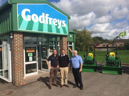 Peter Bateman, Director, Godfreys Golf & Turf (left), Tom Kenny, Group Course Manager, Mytime Active (centre) and Keith Rogers, Area Sales Manager, Godfreys (right)
