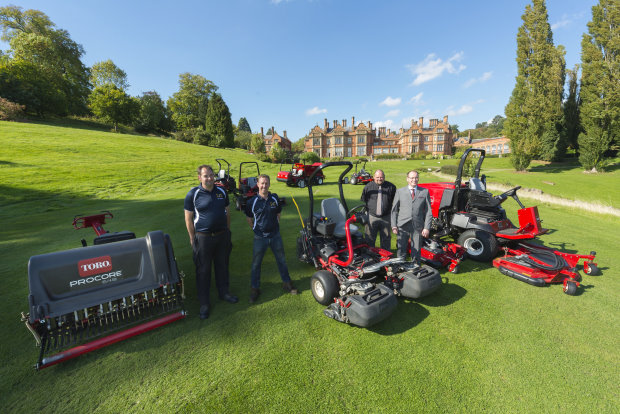 From left: Adrian Henshaw, greenkeeper at The Welcombe, Matthew Davis course manager of both courses, Lely's Jon Lewis and Shaun Van Looy general manager at Hallmark Welcombe with some of the new Toro machines at Hallmark Welcombe