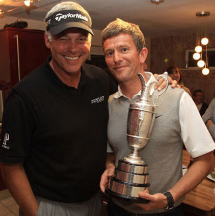 Watts (right) is pictured with Darren Clarke and the Claret Jug