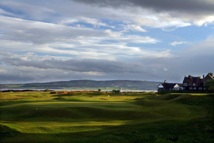 he par 4 first hole looking back to the clubhouse on The Championship course at Royal Dornoch (courtesy of David Cannon / Getty Images)