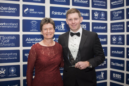 Catriona Matthew and Stephen Gallacher at the 2015 Scottish Golf Awards