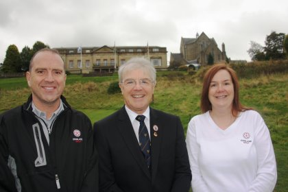 New county development officers Sean Hammill and Alison Lysons with David Durling (centre), chairman of the Cheshire Golf Development Group