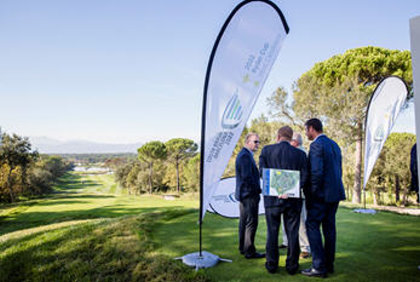 Golf Course Manager, David Bataller (right), introduces the European Tour's Keith Pelley and Richard Hills to PGA Catalunya's Stadium Course