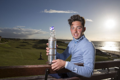 Marco Penge, Golf at Goodwood GC with the Carrick Neill Scottish Stroke Play Championship trophy after his triumph over the old links of Moray GC. (Kenny Smith Photography)