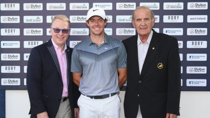 (from left) Keith Pelley, Rory McIlroy  and Colm McLoughlin, the Executive Vice Chairman of Dubai Duty Free, launch ticket sales for the 2016 Dubai Duty Free Irish Open
