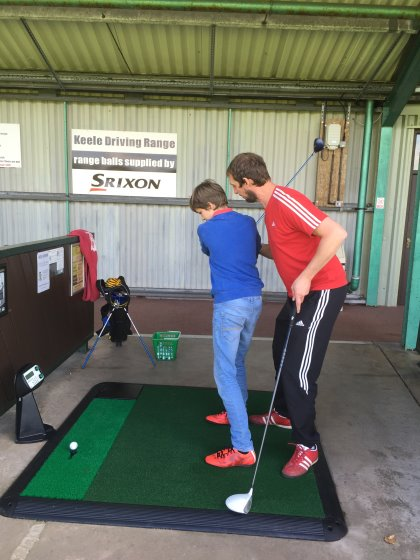 Father and son practice on Keele's brand new Power Tees
