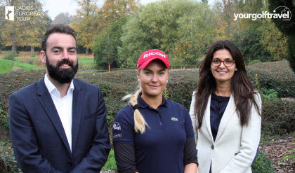 Euan Gillon from Your Golf Travel with Charley Hull and Maria Salgado from the Ladies European Tour