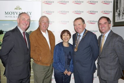 (from left) Peter Carey,CEO Kildare County Council, Christy O'Connor Jnr., Moyvalley Hotel & Golf Course Director Jane Tripipatkul, Mayor of Kildare Brendan Weld and John Osborne, Chairman Kildare Failte (Photo: Pat Tinsley)