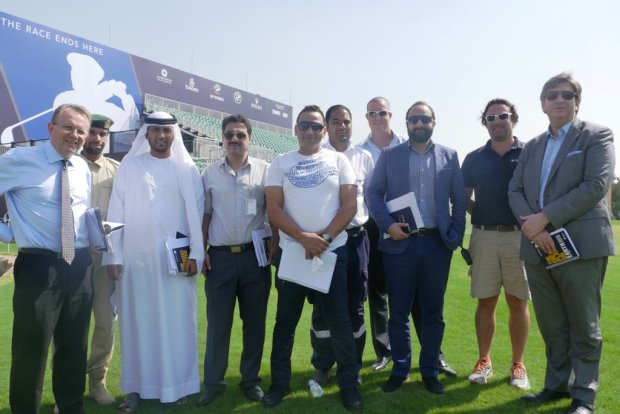Nick Tarratt, Director European Tour International - Dubai, 1st Warrant Officer Moosa Al Halyan, Dubai Police and Julian Small, Managing Director, Club Operations, Jumeirah Golf Estates with the Government of Dubai and DP World Tour Championship planning team