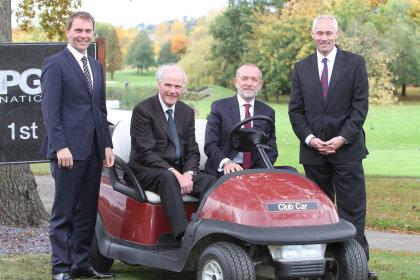 Robert Maxfield, PGA joint chief operating officer; Sandy Jones, PGA chief executive; Marco Natale, Club Car vice president EMEA; and Kevin Hart, Club Car sales director golf, EMEA (courtesy of Adrian Milledge)