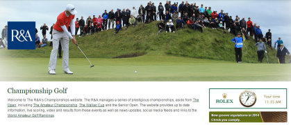 R&A Championship Golf web page