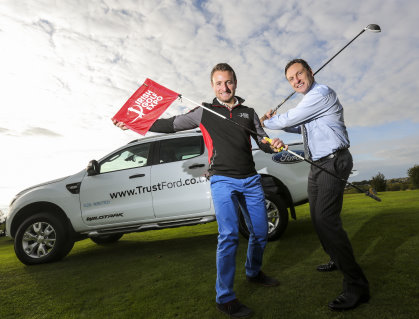Stewart Kyle, Irish Golf Expo is pictured at the partnership announcement with Chris Kelly, TrustFord