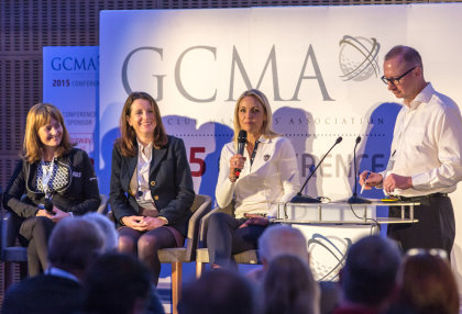 (from left): Alison Root, 'Women and Golf' editor; Emma Clifford, the 2014 GCMA Club Manager of the Year; Carin Koch, Syngenta Golf Ambassador; and Gary Firkins, Director at Landmark Media