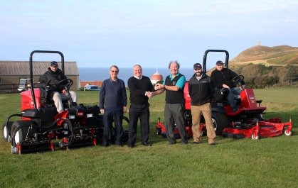 Jim Duncan, left of centre, from IOM Farmers shakes hands with Fred Gray Rowany GC. Also in the photo from left: Simon Miller, head greenkeeper, Mike Kewley, Rowany GC, Mike Atherton, IOM Farmers and Scott Howarth, greenkeeper