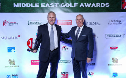 Brian Goudie (left), General Manager at Hydroturf and Colin Baxter, Managing Director at Hydroturf, receiving the Best New Golfing Product of the Year, at the 2015 Middle East Golf Awards
