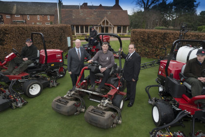 Jonathan Wood, course manager, seated, with Ray George from Oakleys Groundcare to his left and Lely's John Pike
