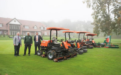 A misty morning at Malvern sees Simon Bingham of T H WHITE (left) with Worcestershire Golf Club Course Manager Steve Lloyd (centre) and David Timms from Ransomes Jacobsen with the new front-line mowing equipment