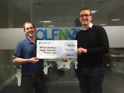 GolfNow Director Richard Barker (right) and International Marketing Manager Andrew Hollywood present the donation of £20,000 for the Golf Foundation