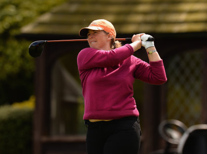 Anna Smith of London Golf Club plays her first shot on the 1st tee during the Titleist and FootJoy Women's PGA Professional Championship qualifier at Little Aston Golf Club on May 11, 2015 in Sutton Coldfield, England. (Photo by Tony Marshall/Getty Images)