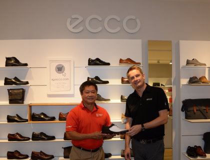 Asian Tour Commissioner Kyi Hla Han pictured with Jesper S. Thuen Head of Golf-Asia Pacific ECCO