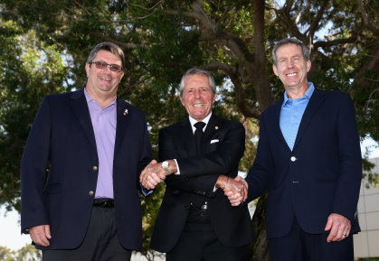 from left Grant Wilson, Chief Operating Officer, Sunshine Tour, Gary Player, Keith Waters, Chief Operating Officer, The European Tour (Photo by Warren Little/Getty Images)