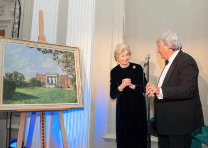HRH Princess Alexandra with club vice-captain Charles Irving after unveiling Ken Howard's painting