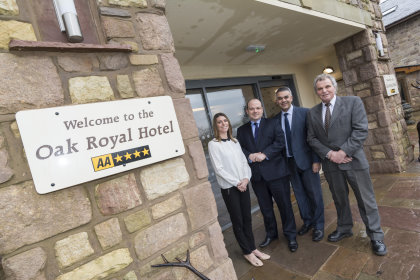 Oak Royal Golf and Country Club (from left) Caroline Downes (Director), Kenny Arnott (Manager), Jonathon Townsend (Lloyds) and Charles Downes (Owner)