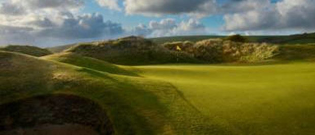 """9th green of Saunton East """"I've no doubt if the East Course were located on the coast of Lancashire or Kent it would have hosted an Open Championship by now,"""" Sir Nick Faldo once said of Saunton East"""