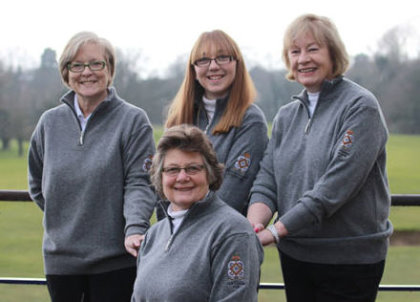 Incoming Royal Norwich club captain Angela Loveday (front) with (from left) Janet Clare, Jasmine Campbell and Cherry Bishop