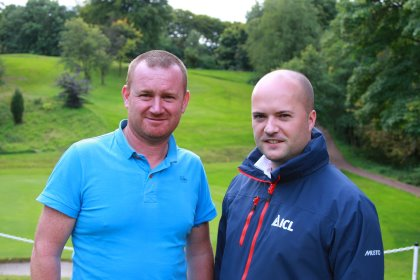 Scott Fraser, head greenkeeper at Easter Moffat Golf Club and Jamie Lees, Technical Area Sales Manager at ICL