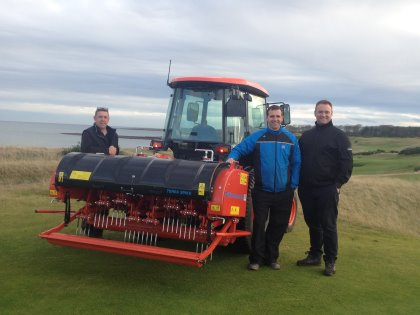 (from left) Gordon Mcfadyen, Deputy Course Manager, Innes Knight, Course & Facility Manager at Kingsbarns Golf Links, centre, Gareth Rogers Area Manager (East) Fairways GM, Wiedenmann UK dealer for Scotland